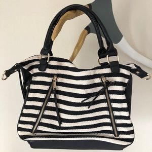 Forever 21 Black & Cream Striped Handbag
